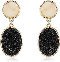 MVCOLEDY Druzy Stud Earrings Minimalist Stone Stunning Gold Plating Sparkly Drop Dangle Crystal Earrings Women Gift Fashion Jewelry