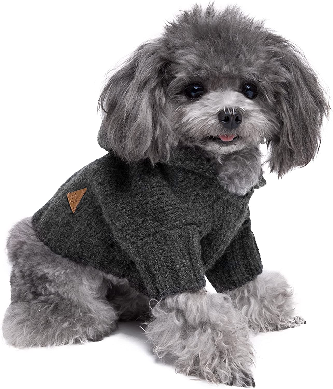 golden Paw Premium Dog Hoodie, Dog Sweater, Dog Apparel, Warm Dog Clothes ... (Medium, Charcoal)