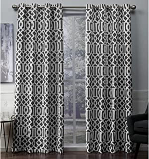 Exclusive Home Scrollwork Gated Print Sateen Woven Blackout Grommet Top Curtain Panel Pair, Black Pearl, 52x108