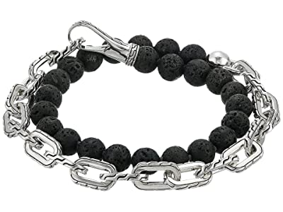 John Hardy Classic Chain Double Wrap Bracelet w/ Hook Clasp with 8mm. Volcanic Beads (Silver) Bracelet
