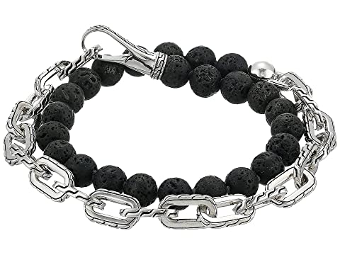 John Hardy Classic Chain Double Wrap Bracelet w/ Hook Clasp with 8mm. Volcanic Beads