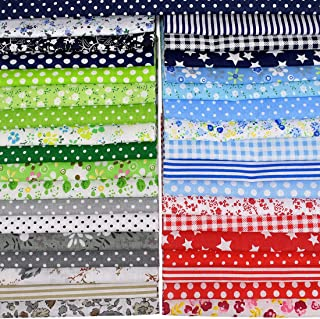Sponsored Ad - Blue Handcart 35 Pieces Cotton Fabric Quilting Patchwork Fabric Square Sewing Craft Fabric Printed Fabric B...