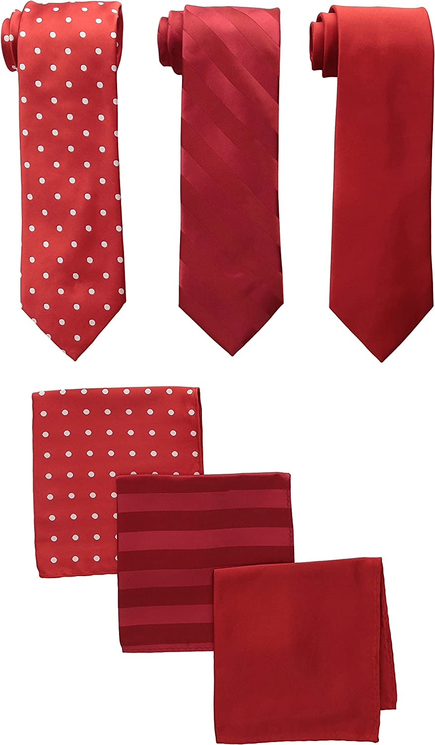Stacy Adams Men's 3 Pack Satin Neckties Solid Striped Dots with Pocket Squares, One Size