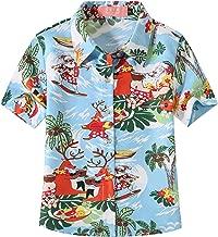 SSLR Big Girls' Funny Xmas Button Down Ugly Hawaiian Christmas Shirt