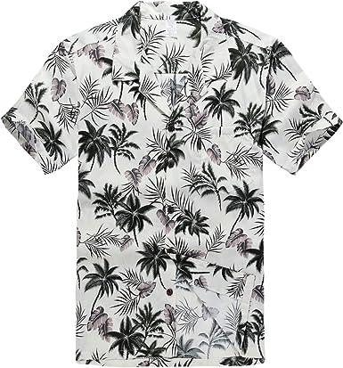 Hombres Aloha Camisa Hawaiana en Hibisco y Hoja de Palma Rojo