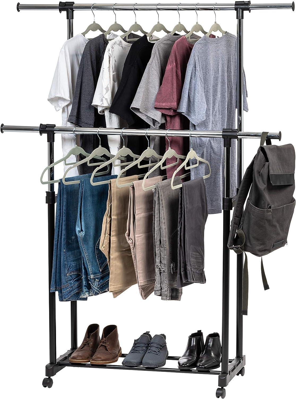 shipfree IRIS favorite USA AGRE-2 Garment Wheels Hanger Rack Clothing Double-Ro