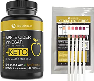 Apple Cider Vinegar Capsules with Mother + Keto Diet Pills, BHB Salts with MCT Oil, Includes 100 Ketone Test Strips, Exoge...