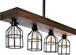 Farmhouse Lighting Triple Wood Beam Rustic Decor Chandelier Light -Rustic Lighting for Kitchen Island Lighting, Dining Room, Bar, Industrial, and Billiard Table-Wooden Light with Edison Cages (Smooth)