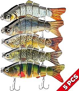 "5Pcs Fishing Lures for Bass Trout 1.4~4.7"" Multi Jointed Swimbaits Slow Sinking Bionic Lifelike Swimming Bass Lures Freshwater Saltwater Bass Fishing baits Kit"