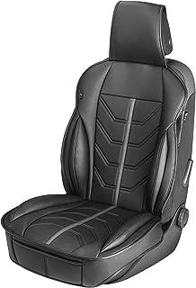 Walser 13985 Autositzauflage Kimi, Universelle Sitzauflage und Schutzunterlage in schwarz   grau, Sitzschoner für Pkw und LKW in Rennsportoptik