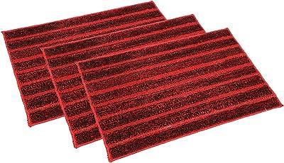"Kuber Industries Soft Cotton Blend Anti Slip 3 Pieces Door Mat 16""x24""(Maroon) CTKTC33398"