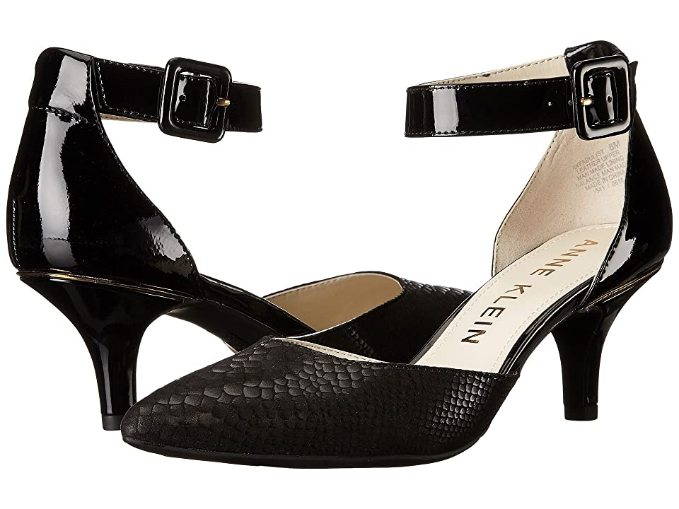 Anne Klein Fabulist (Black Leather/Reptile) High Heels