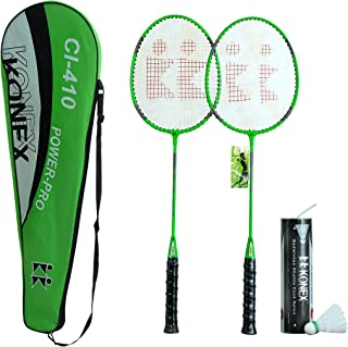 Konex CI-410 Badminton Racquet Pair with Six Plastic Shuttlecocks