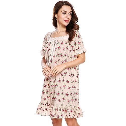e43e77a1ed Goldenfox Womens Vintage Short Sleeve Cotton Sleepshirts Martha Victorian  Nightgowns S-XL