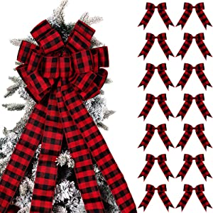 Xinnun Christmas Tree Topper Bow and 12 Pieces Mini Bows Black and Red Buffalo Plaid Bows Christmas Wreath Bow Holiday Decorative Bows for Christmas Tree Home and Party Holiday Decor DIY Crafts