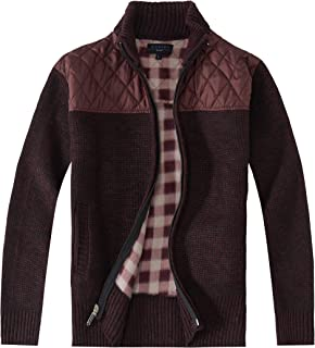 Gioberti Men's Knitted Full Zip Cardigan Sweater with Soft Brushed Flannel Lining