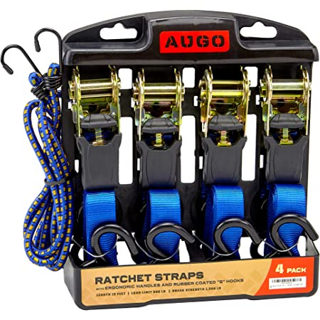 Ratchet Tie Down Straps - 4 Pk - 15 Ft- 500 Lbs Load Cap- 1500 Lb Break Strength- Cambuckle Alternative- Cargo Straps for Moving Appliances, Lawn Equipment, Motorcycle - Includes 2 Bungee Cord
