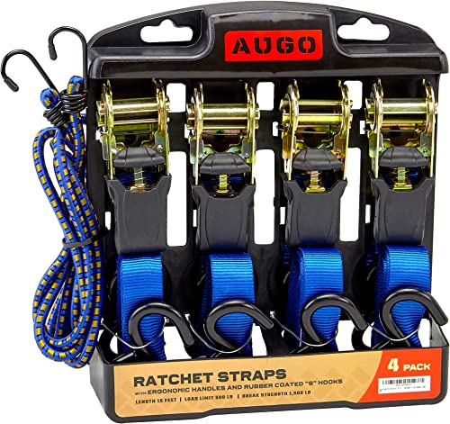 Ratchet Tie Down Straps - 4 Pk - 15 Ft- 500 Lbs Load Cap- 1500 Lb Break Strength- Cambuckle Alternative- Cargo Straps...