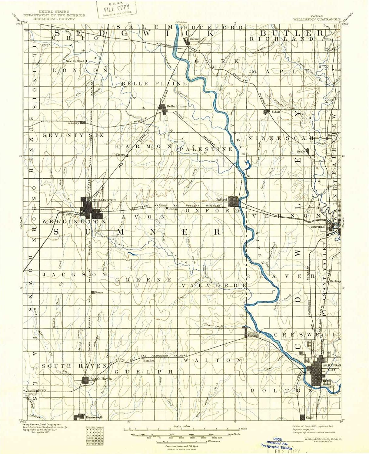 Wellington KS topo map, 1 125000 Scale, 30 X 30 Minute, Historical, 1890, Updated 1949, 20 x 16.31 in