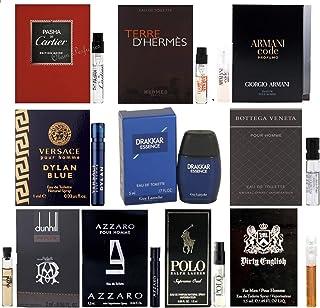 Men`s Cologne Collection Men`s Designer Fragrance Sample Pack: 1 mini Drakkar Essence + 9 Different Cologne Vials