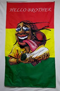 Hello Brother Rasta Man Rolling A Monster Blunt Flag 5' X 3' Series 3 Banner