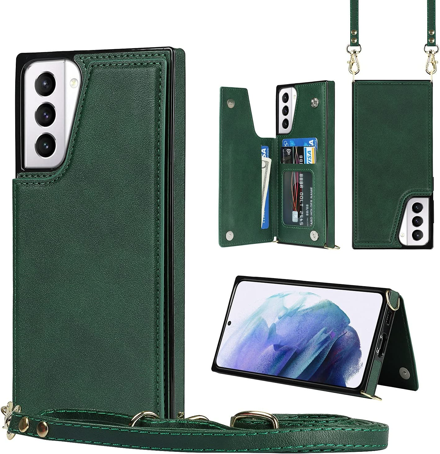 Crossbody Case for Huawei Mate 40 Pro TPU Leather Shockproof Cover, Wonderful Wallet Function, Kick Stand RFID Blocking Material Lanyard Strap with Women Girl (Green)