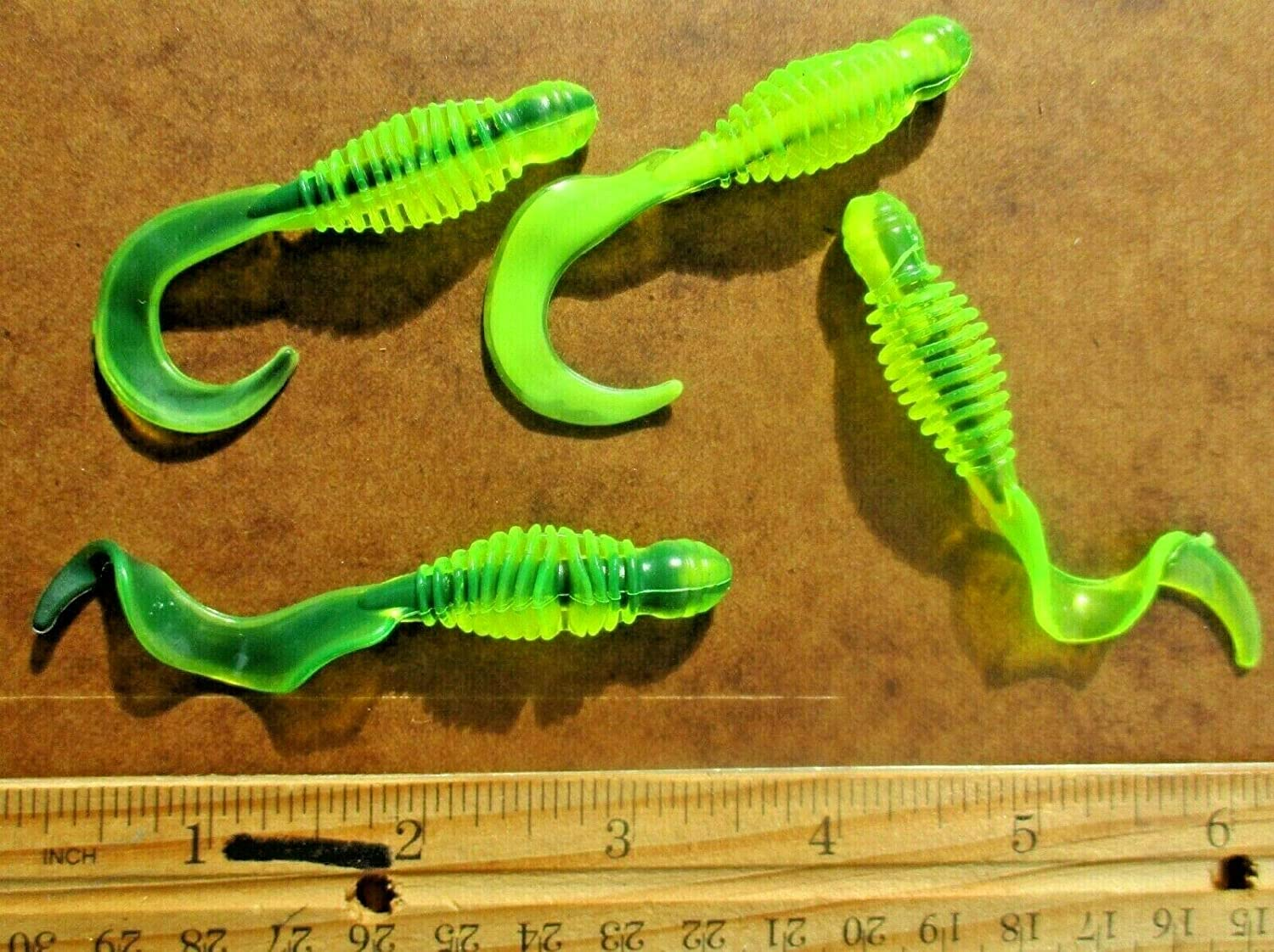 25ct Chartreuse CORESHOT Mix Curly Bass Ring Fishing Tail GRUBS OFFer Translated