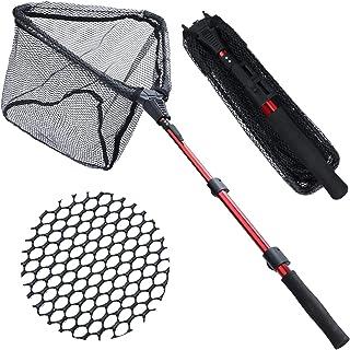 Sougayilang Fishing Net Fish Landing Net, Foldable Collapsible Telescopic Pole with EVA Handle, Durable Nylon Material Mes...