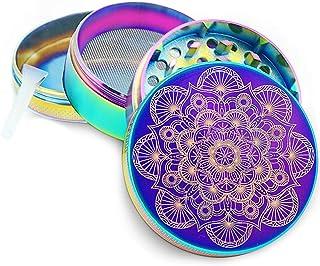 """PILOTDIARY Mandala Series Premium Aluminum 4 Piece Herb Grinder with Pollen Catcher 2"""" Titanium Blue"""