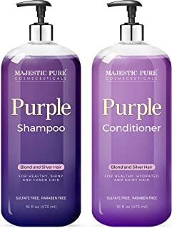 MAJESTIC PURE Purple Shampoo and Conditioner Set - Tones & Brighten Blonde, Platinum, and Silver Hair, Sulfate Free & Para...