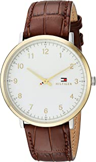 Tommy Hilfiger Men's Sophisticated Sport Silver and Gold Quartz Watch with Leather Calfskin Strap, Brown, 20 (Model: 1791340