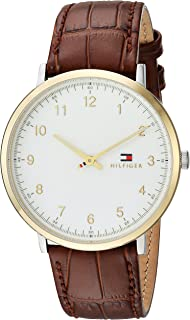 Men's Sophisticated Sport Stainless Steel Quartz Watch with Leather Calfskin Strap, Brown, 20 (Model: 1791340)