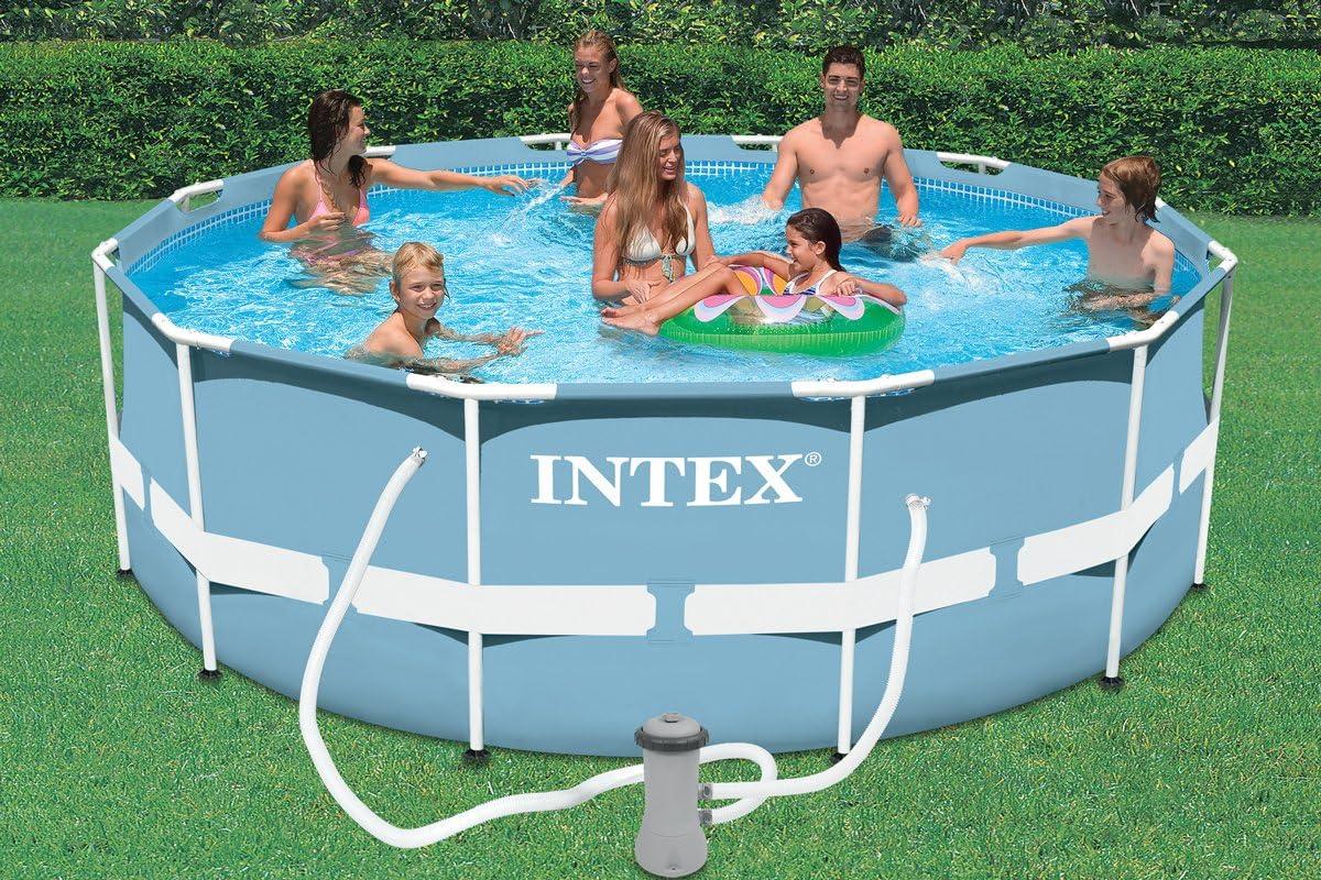 Intex - Piscina redonda con marco de acero de 3 x 76 cm