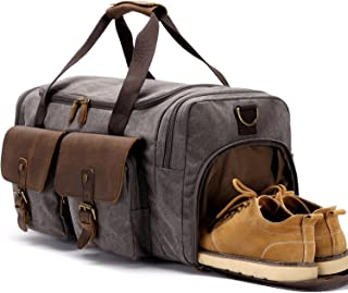 BLUBOON Travel Duffel Bag for Men Canvas Overnight Bag Oversized Carry on Bag with Shoe Compartment (Grey)