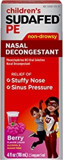 Children's Sudafed PE Nasal Decongestant, Liquid Cold Relief Medicine with Phenylephrine HCl, Alcohol Free and Sugar-Free,...