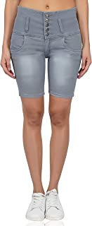 LUXSIS Grey Denim Lycra Skinny Casual High 5 Buttoned Waist Solid Latest Stretchable Nikker Shorts Jeans Pants for Women Ladies Girls Pack of One Size (Four Colour)