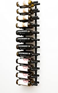 VintageView Wall Series - 24 Bottle Metal Wall Mounted Wine Rack (Satin Black) Stylish Modern Wine Storage with Label Forward Design