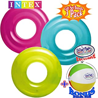 """Intex Transparent Inflatable Tubes (30"""") Aqua, Lime & Pink Complete Gift Set Bundle with Bonus Matty`s Toy Stop 16"""" Beach Ball - 3 Pack"""