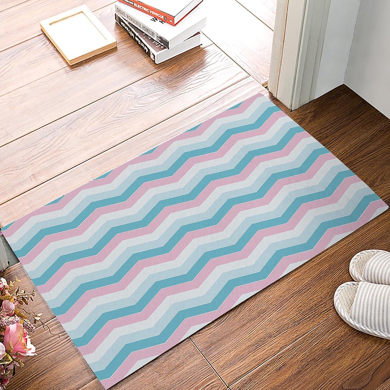 Family Decor Doormat for Entrance Way Indoor Bathroom Front Door Area Floor Mat Rugs Rubber Non Slip Waterproof Absorb Kitchen Runner Carpet, colorful Ripples (32 x20 )