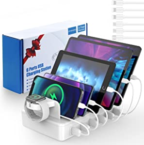 Charging Station for Multiple Devices, 6 Port 50W Fast Multi Charger Organizer with Watch Bracket Equipped for iPhone iPad Android Tablet Watch and Other Electronics(6 Cables Included)
