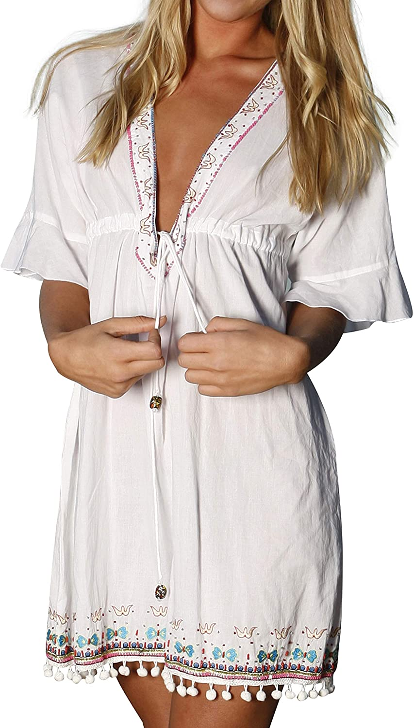 Hottie Sanjula Couture Cotton Tunic   Embroidered & Beaded Beach Cover Up White