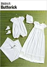 BUTTERICK PATTERNS B6045 Infants' Romper, Dress, Sash, Hat, Booties and Blanket Sewing Template, Size YA5