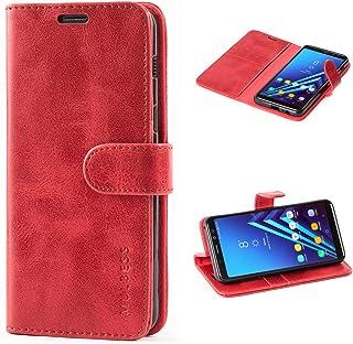 Mulbess Cover per Samsung Galaxy A8 2018, Custodia Pelle con Magnetica per Samsung Galaxy A8 2018 [Vinatge Case], Vino Rosso
