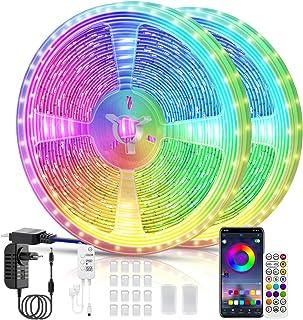 Tira LED, Voneta Tira de Luces LED Iluminación 5050 RGB, Control de APP y Remoto Control, Sincronizar con Música, Modo de ...