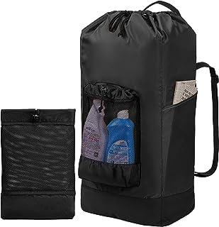 KALIDI Sac à dos à linge, sac à linge pliable de 60 L, poche en maille filet 600D en nylon durable, sac à dos de lavage po...