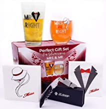 Mr & Mrs Right couple GIFT Set - Pint Pub beer & Stemless Wine Glasses + Professional Waiters Corkscrew + FREE assorted napkins - Combo for Wedding, Engagement, Newlyweds, Anniversary, Christmas
