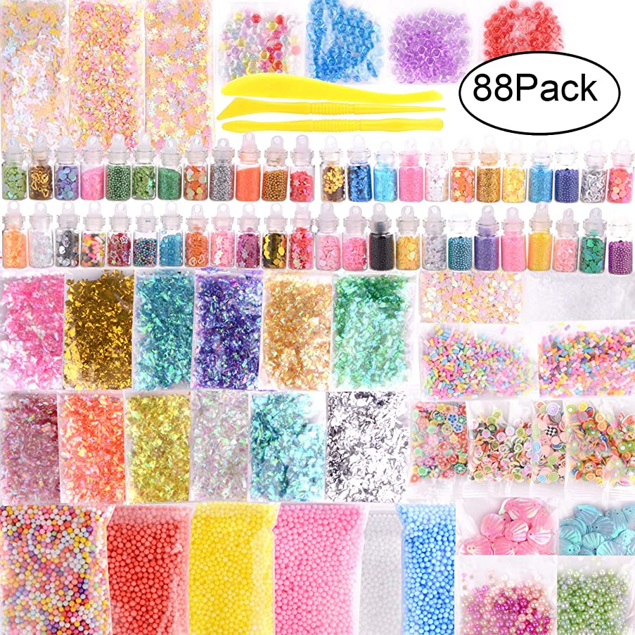 Slime Supplies Kit, 88 Pack Slime Beads Charms Include Foam Beads, Glitter Jars, Fruit Slices,Rainbow Pearl, Colorful Sugar Paper Accessories, Slime Tools for Slime Making DIY Craft
