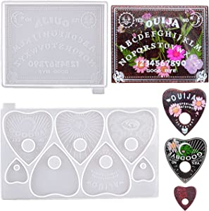 ResinWorld Ouija Board and Planchette Resin Molds, 2PCS Gothic Epoxy Resin Silicone Molds for Ouija Board Game, Pendant, Resin Crafts