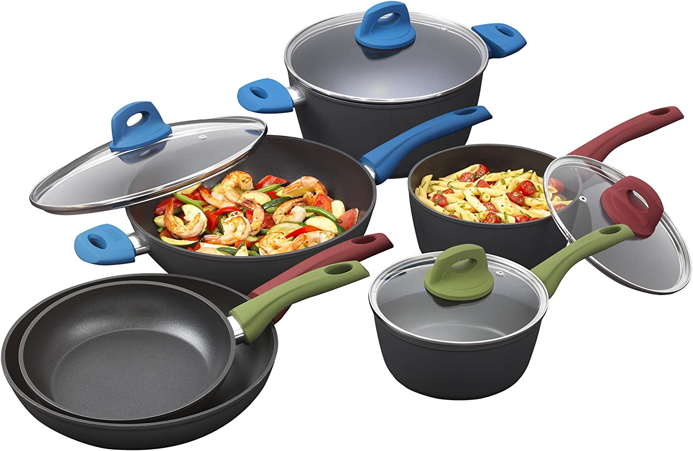 Bialetti 7448 Simply Italian Nonstick 10-Piece Cookware Set, Multicolord