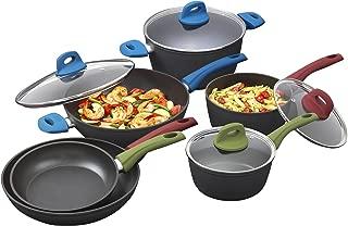 Bialetti 7448 Simply 10-Piece Cookware Set, Italian Nonstick Multicolored